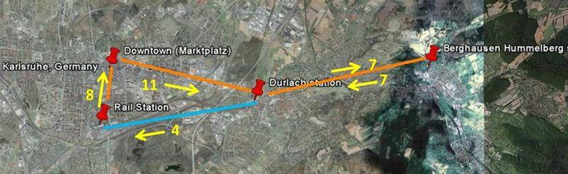 Karlsruhe trip aerial annotated