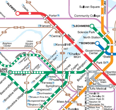 Alewife Subway Map.Boston The Rapid Transit And Key Bus Routes Map Human Transit