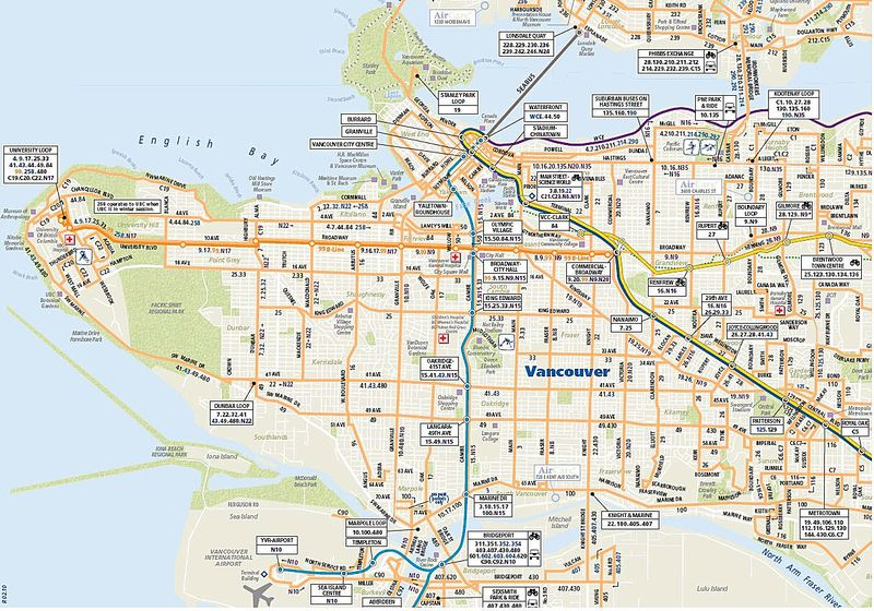 Map Of Vancouver City. Vancouver#39;s transit agency