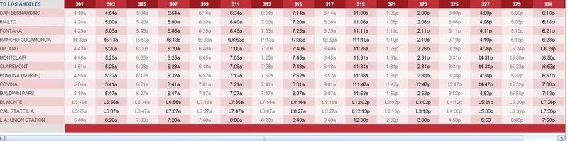 LA Metrolink timetable