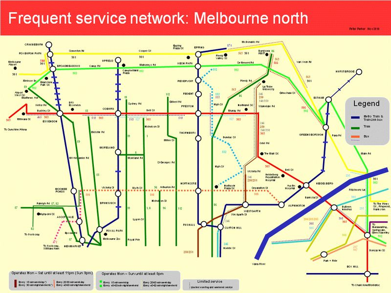 Melbourne Bus Map Melbourne: A Frequent Network Map — Human Transit