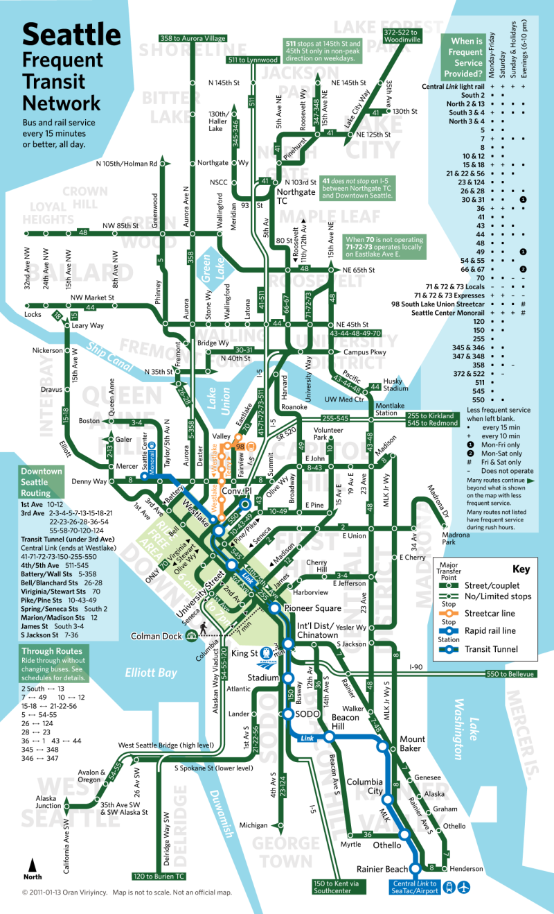 seattle: a new frequent network map — Human Transit
