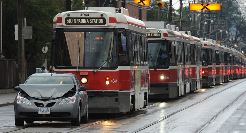 Car blocking streetcars