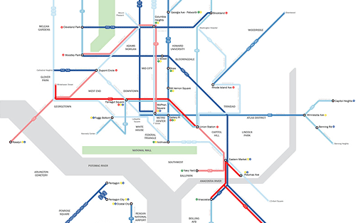 Washington Dc A Subway Style Frequent Bus Map Human Transit