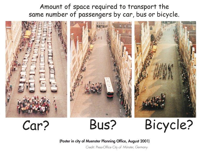 骑 自行车 坐 公共汽车