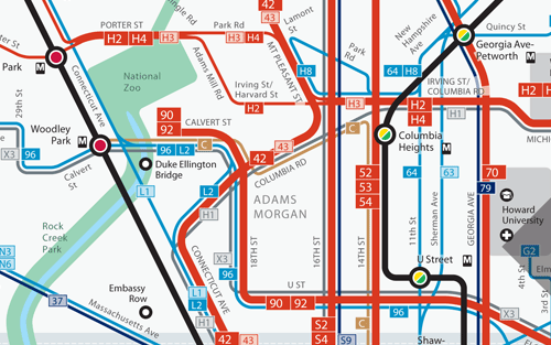 Washington Dc New Network Maps With Frequency Human Transit