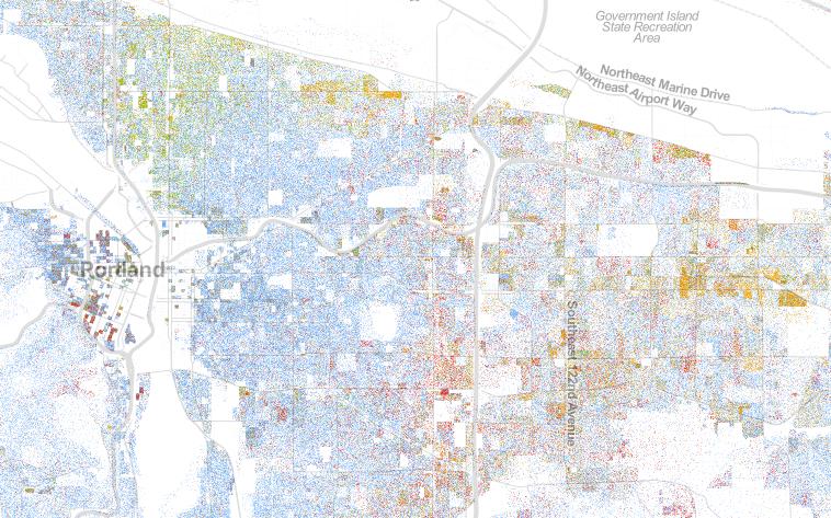 Portland racial dot map