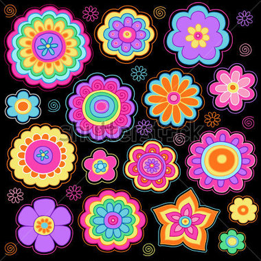 Flower-power-groovy-psychedelic-hand-drawn-notebook-doodle-design-elements-set-on-lined-sketchbook-paper-background-vector_100479673
